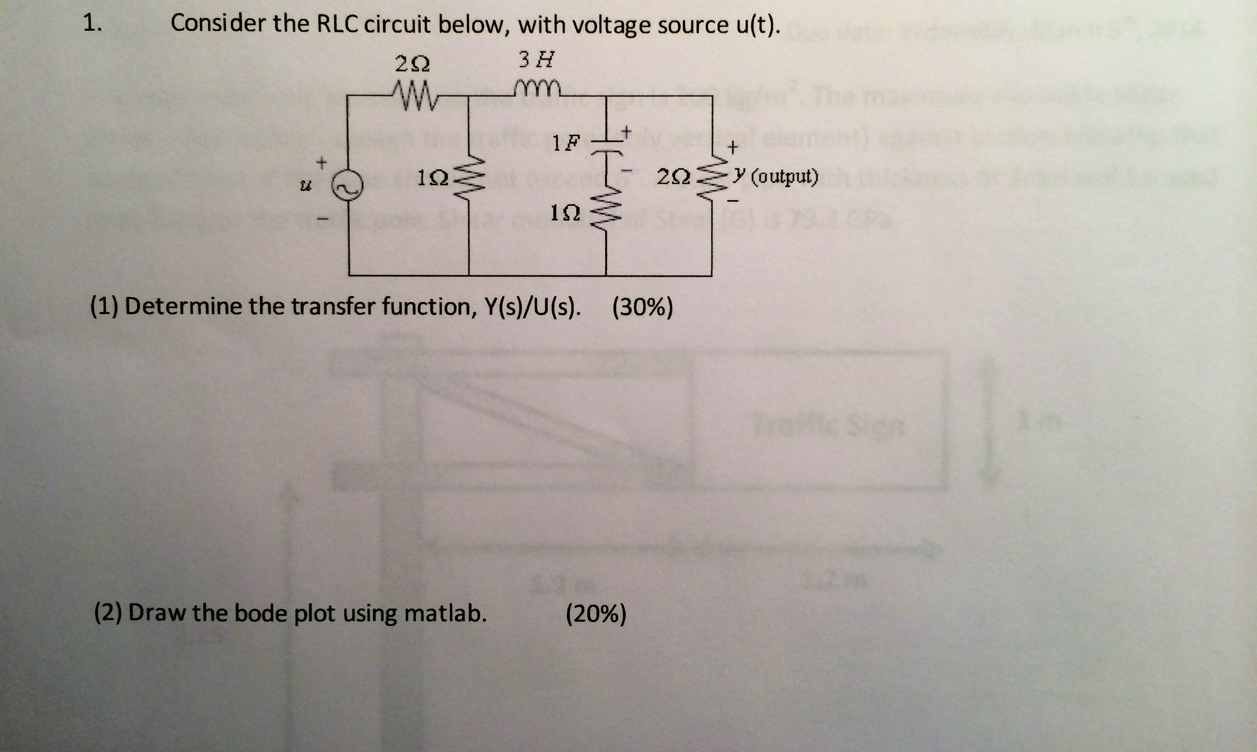 Consider the RLC circuit below, with voltage sourc