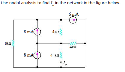 Use nodal analysis to find I0 in the network in th