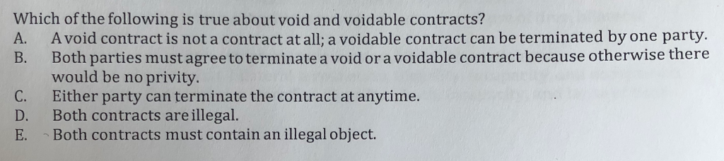 Solved which of the following is true about void and void question which of the following is true about void and voidable contracts a avoid contract is not a cont platinumwayz