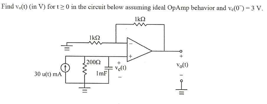 Find v0(t) (in V) for t ge 0 in the circuit below