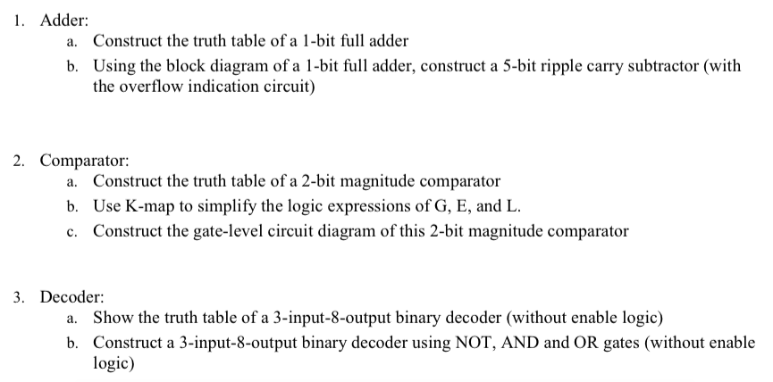 1  Adder A  Construct The Truth Table Of A 1