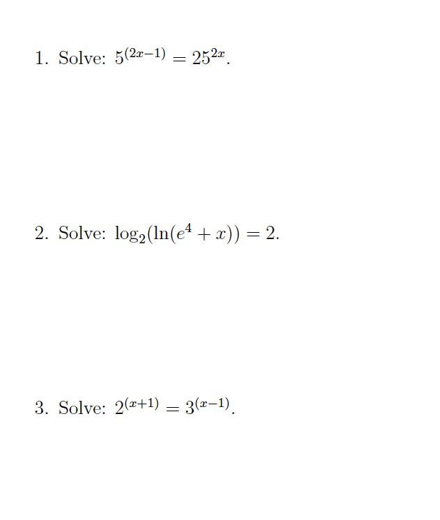 Log2 1/8 Ln E^1/3 E^-1/2 Ln Solve X |ln X| = 2 | Chegg.com