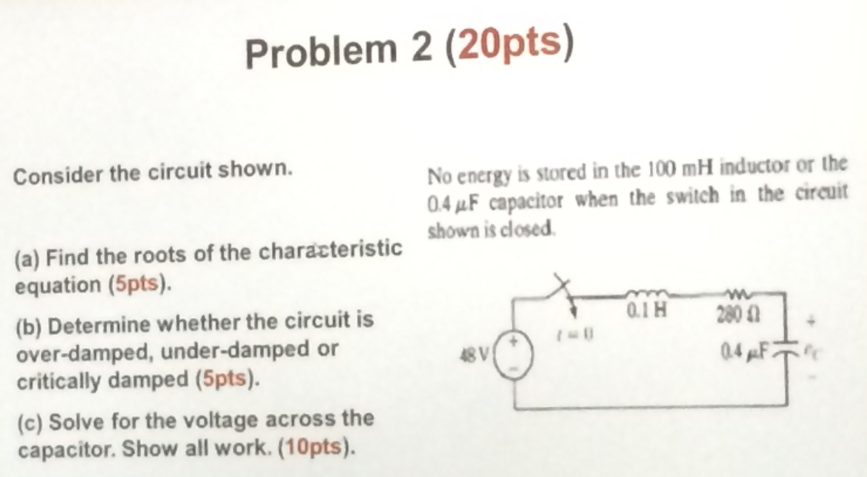 Consider the circuit shown. Find the roots of the