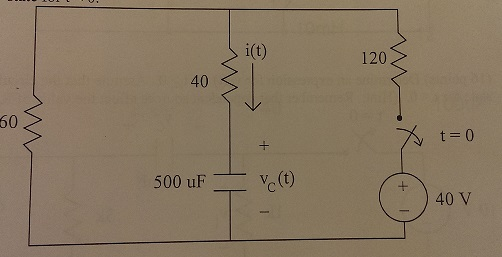 Find vc(t) and i(t) for t >=0. Assume circuit is i
