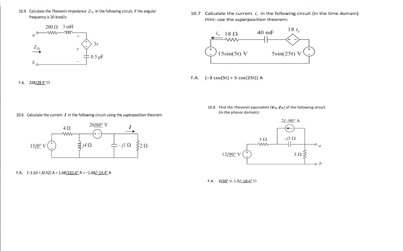Calculate the Thevenin impedance in the following
