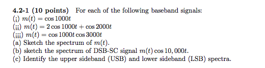For each of the following baseband signals: m(t)