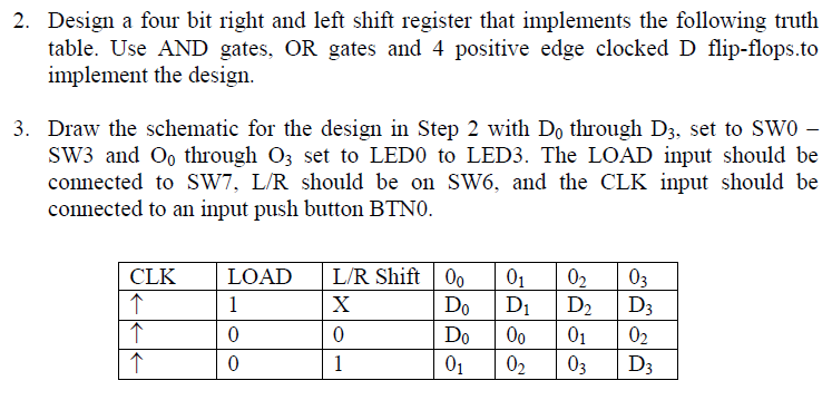 Design a four bit right and left shift register th