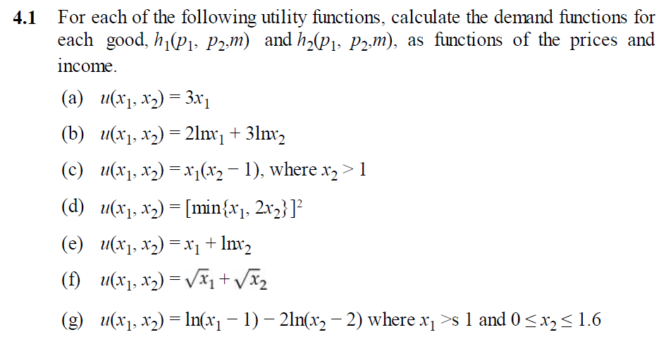 how to get demand function from utility function