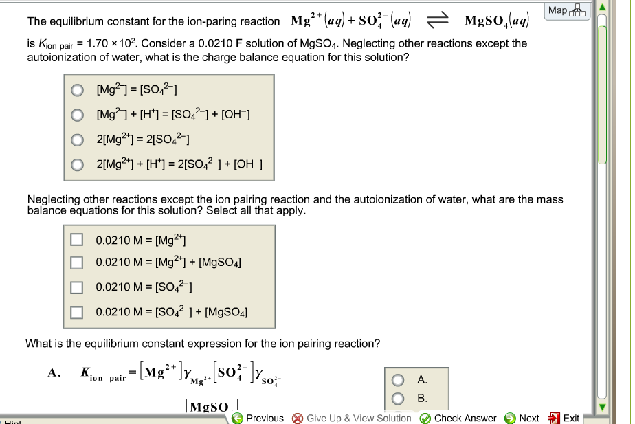 The equilibrium constant for the ion-paring reacti