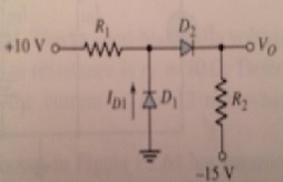 For the circuit shown, assume diode turn-on voltag