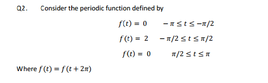 Consider the periodic function defined by where.