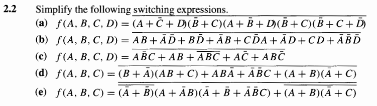 Simplify the following switching expressions.
