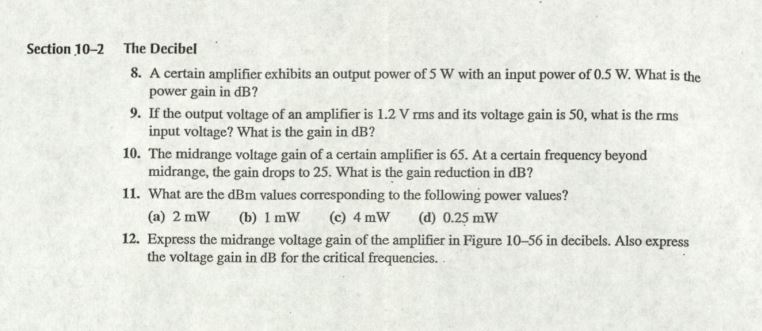 A certain amplifier exhibits an output power of 5