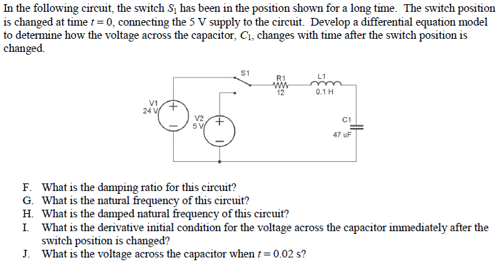 In the following circuit, the switch S1 has been i