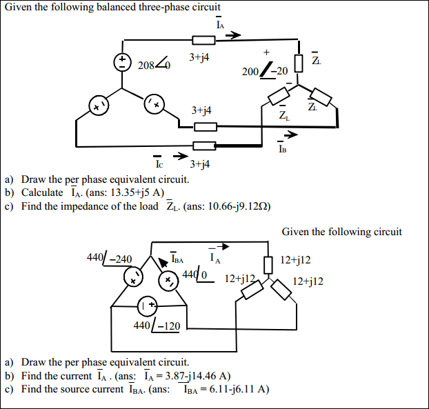 Given the following balanced three-phase circuit