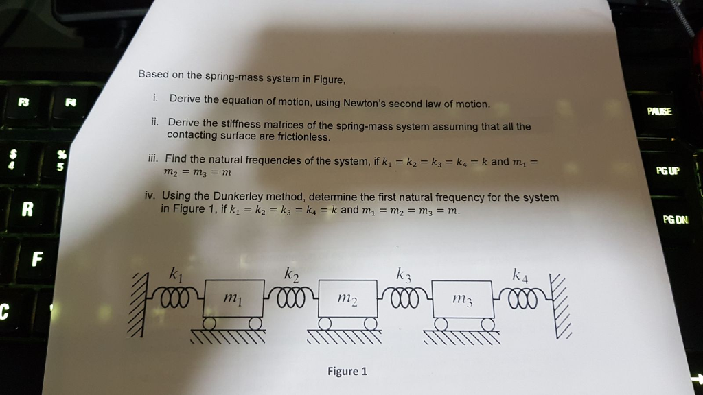Image result for Derive the stiffness matrices of the spring-mass system assuming that all the contacting surface are frictionless