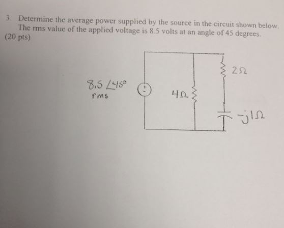 Determine the average power supplied by the source