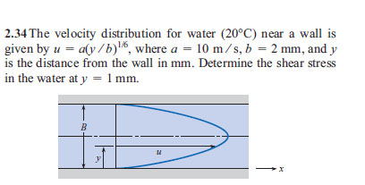 The velocity distribution for water (20 degree C)
