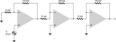 Calculate the output voltage in the circuit of Fig