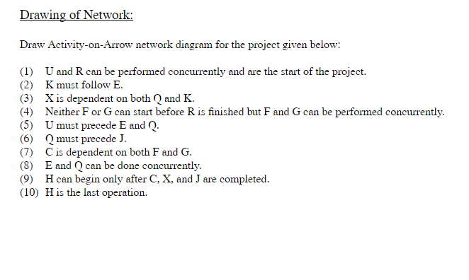 Solved drawing of network draw activity on arrow network drawing of network draw activity on arrow network diagram for the project given ccuart Images