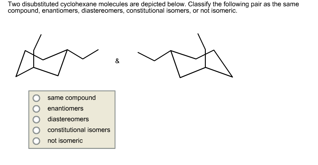 Two disubstituted cyclohexane molecules are depict