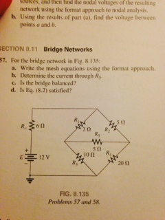 For the bridge network in Fig. 8.135. Write the m