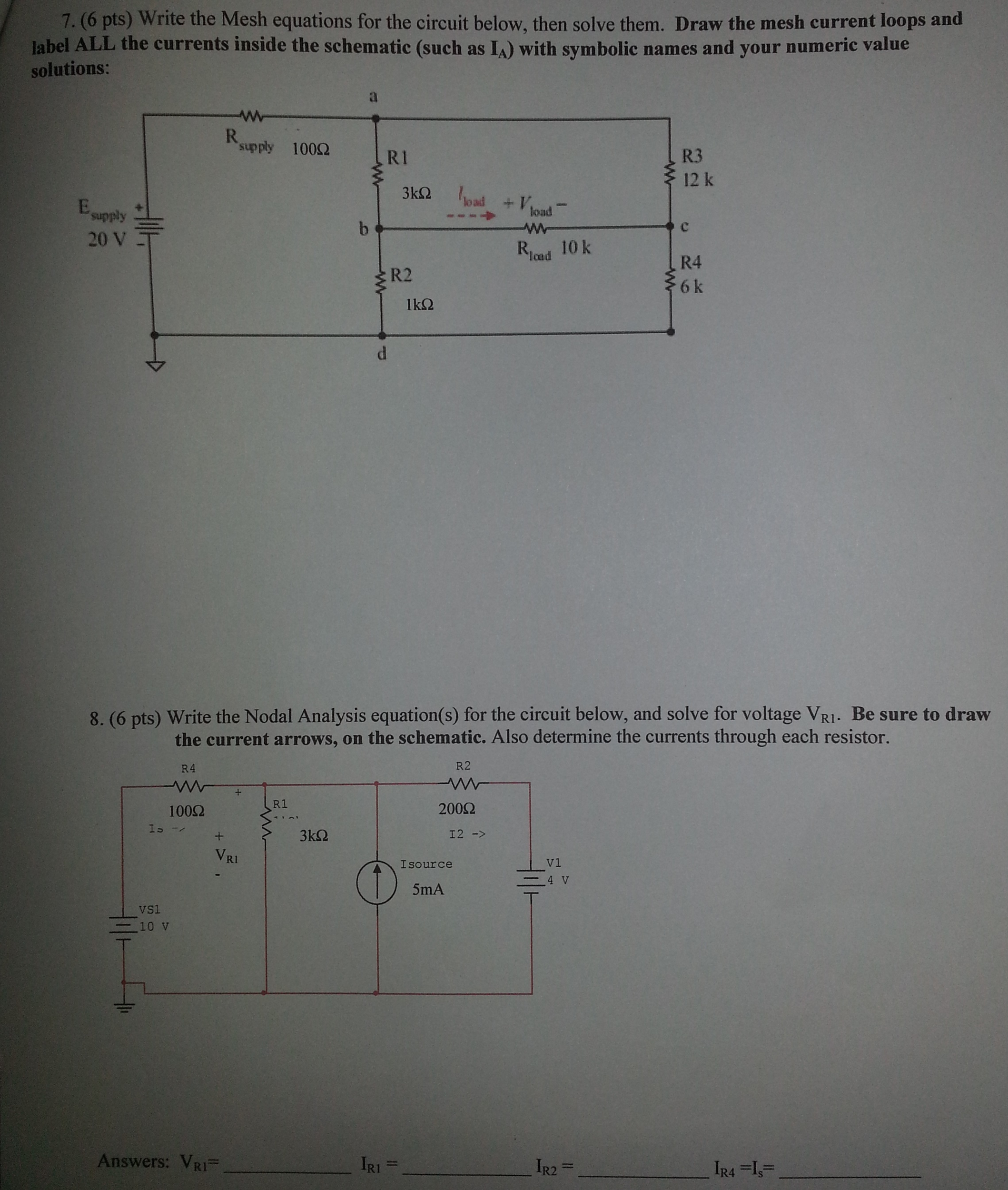 Write the Mesh equations for the circuit below, t