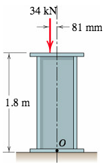 Replace the 34-kN force acting on the steel column