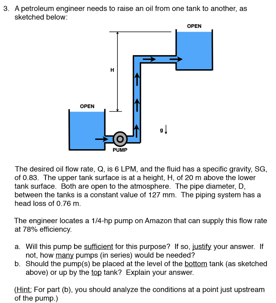 Gravitational Force Fluid Flow: Solved: 3. A Petroleum Engineer Needs To Raise An Oil From