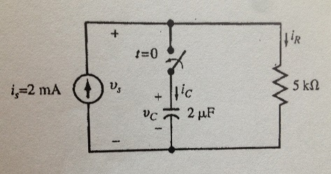 In the following circuit, i(s) = 2mA. The switch