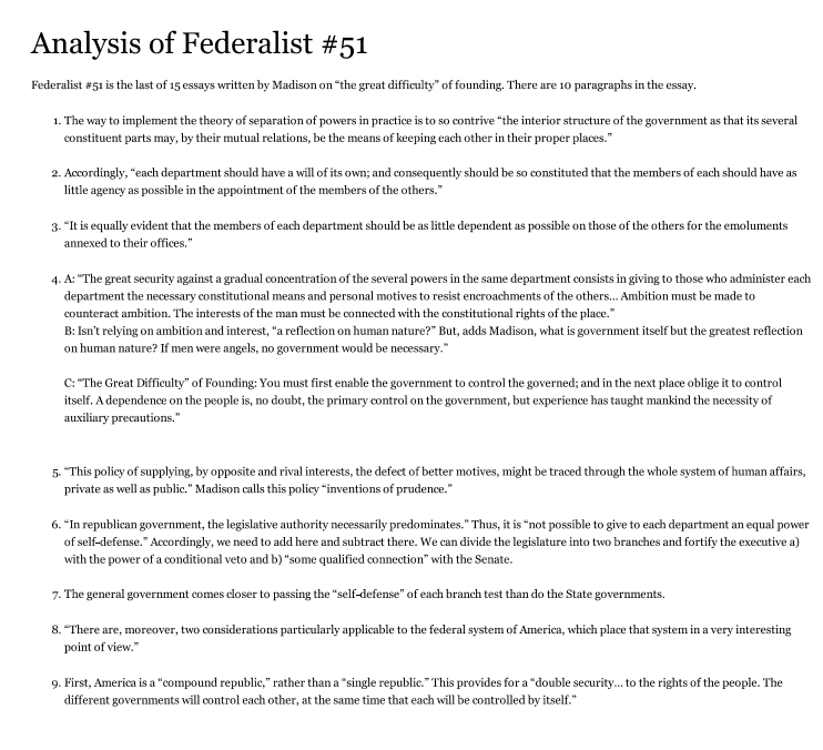 federalist paper no according to madison h chegg com how does madison repeat and complete the argument in federalist 10