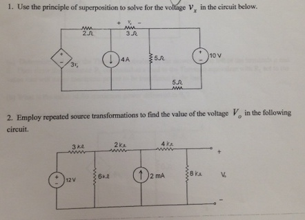 Use the principle of superposition to solve for th