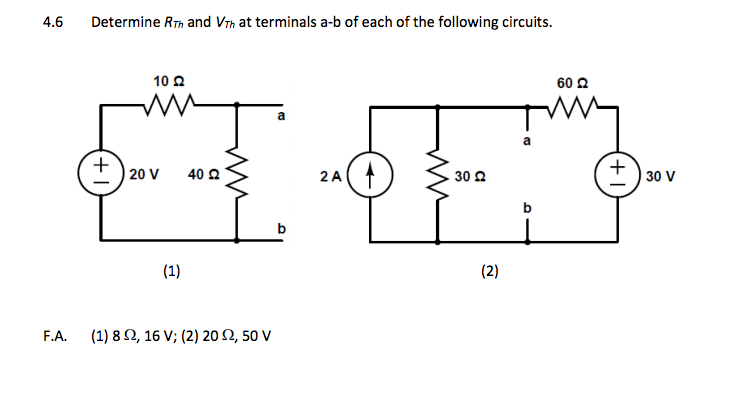 Determine RTh and VTh at terminals a-b of each of