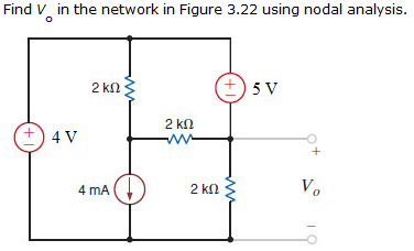 Find Vo in the network in Figure 3.22 using nodal