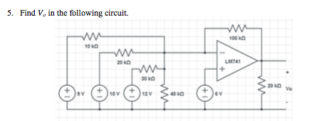 Find V in the following circuit.