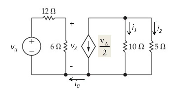 The current, i0, in the 12 Ohm resistor in the c