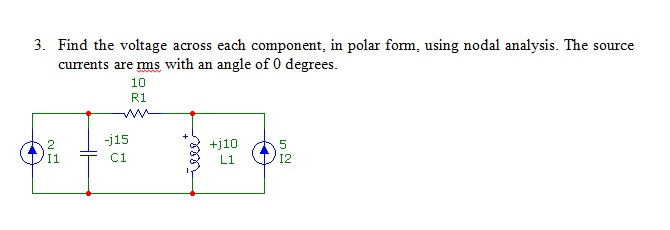 Find the voltage across each component, in polar f