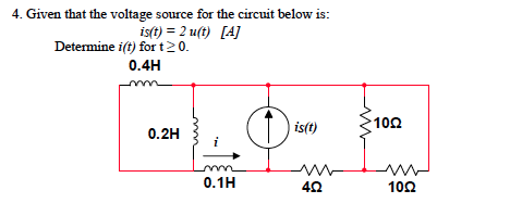 Given that the voltage source for the circuit belo