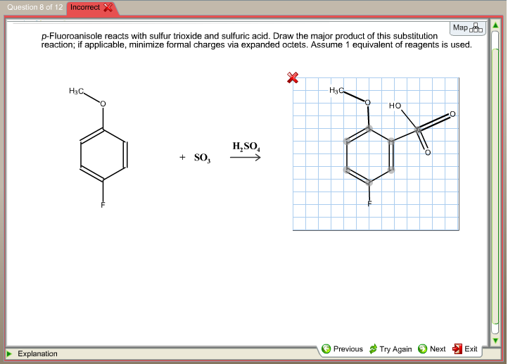 Scribble Drawing Questions : Solved p fluoroanisole reacts with sulfur trioxide and su