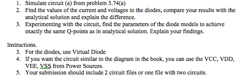Simulate circuit (a) from problem 3.74(a) Find th