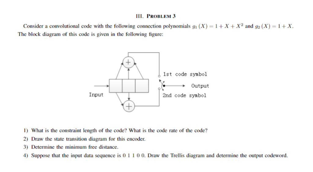 Solved  Ii Problem 3 Consider A Convolutional Code With Th