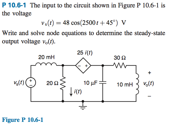 The input to the circuit shown in Figure P 10.6-1