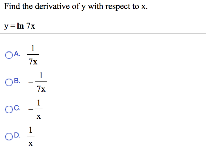 Find The Derivative Of Y With Respect To X. Y=ln 7... | Chegg.com