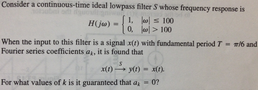 Consider a continuous-time ideal lowpass filter S
