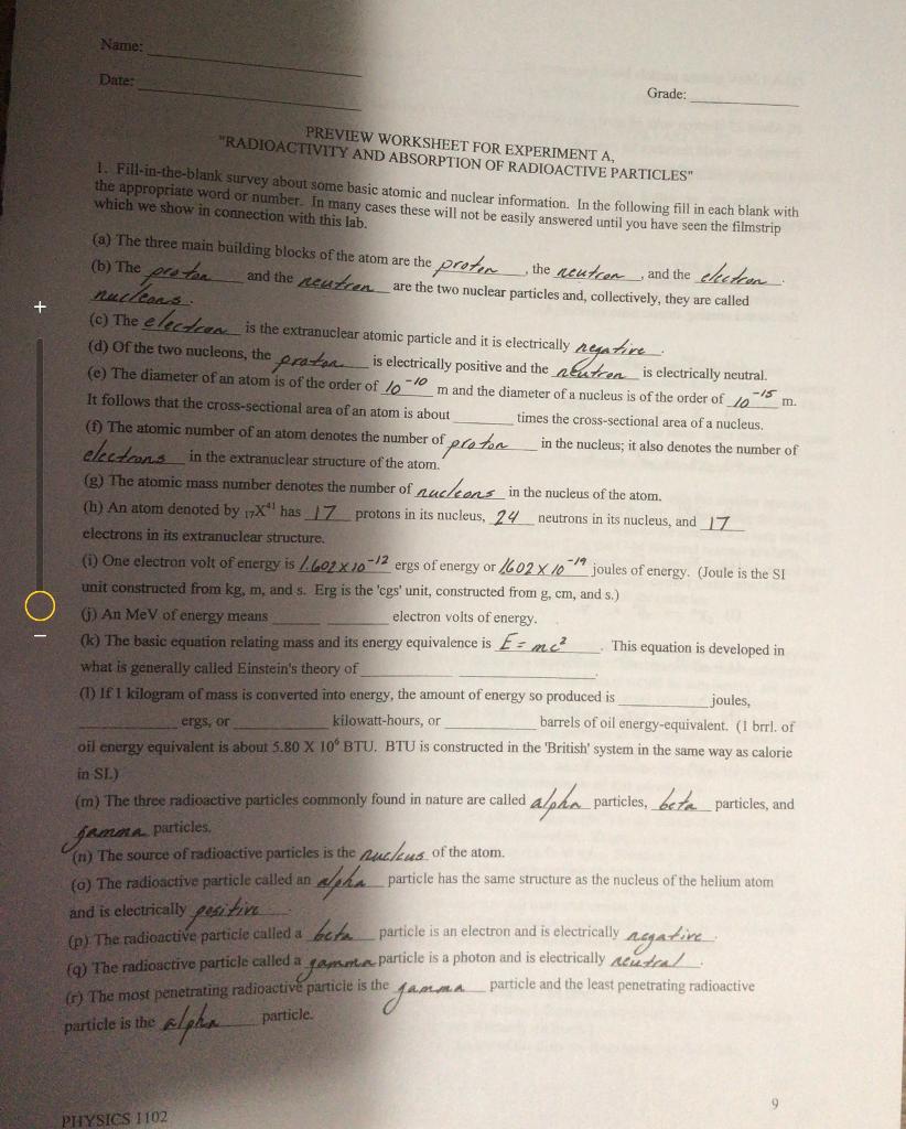 worksheet Radioactivity Worksheet solved name date grade preview worksheet for experimen experiment a radioactivity and absorption of radioactive