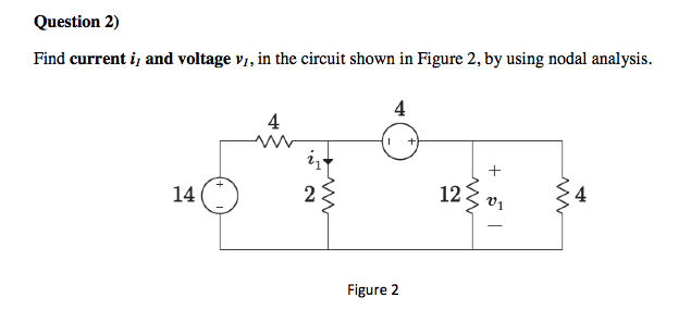 Find current i1 and voltage v1, in the circuit sho