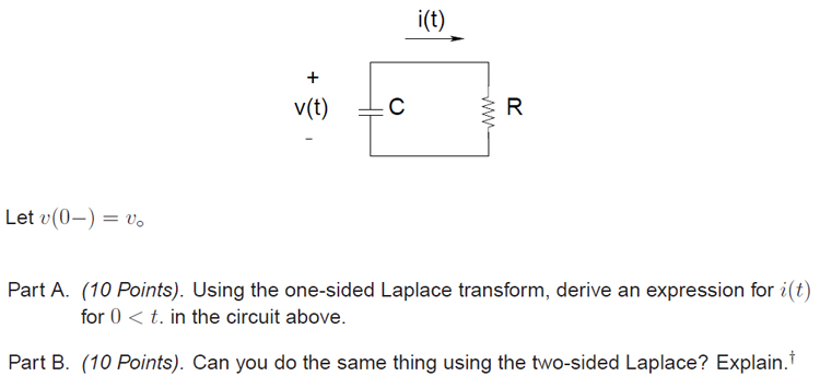 Let v(0-) = v0 Using the one-sided Laplace transf
