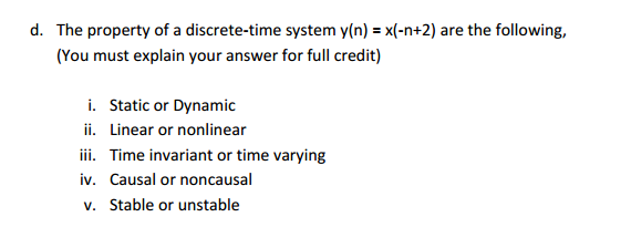 The property of a discrete-time system y(n) = x(-n