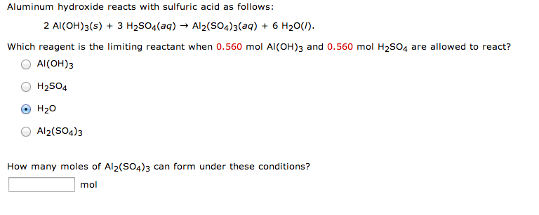 Aluminum hydroxide reacts with sulfuric acid as fo