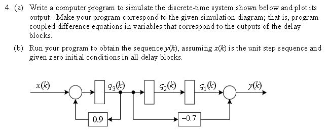 Write a computer program to simulate the discrete-